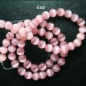 Beads, Glass, Light pink, Spherical, Diameter 6mm, 38cm strand, 65 Beads, (YZZ0002)